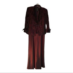 Cachet burgundy red long gown w one button jacket